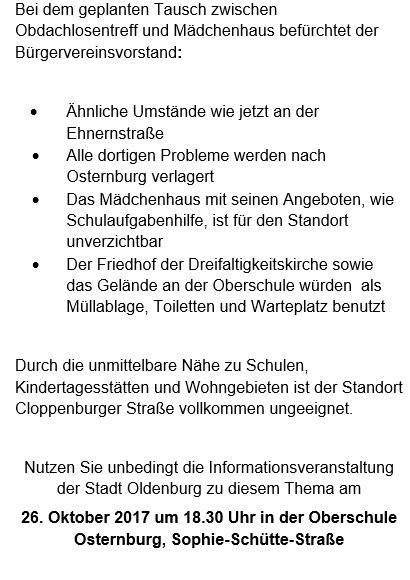 bürger- und gartenbauverein osternburg dammtor, 26135 oldenburg, Einladung